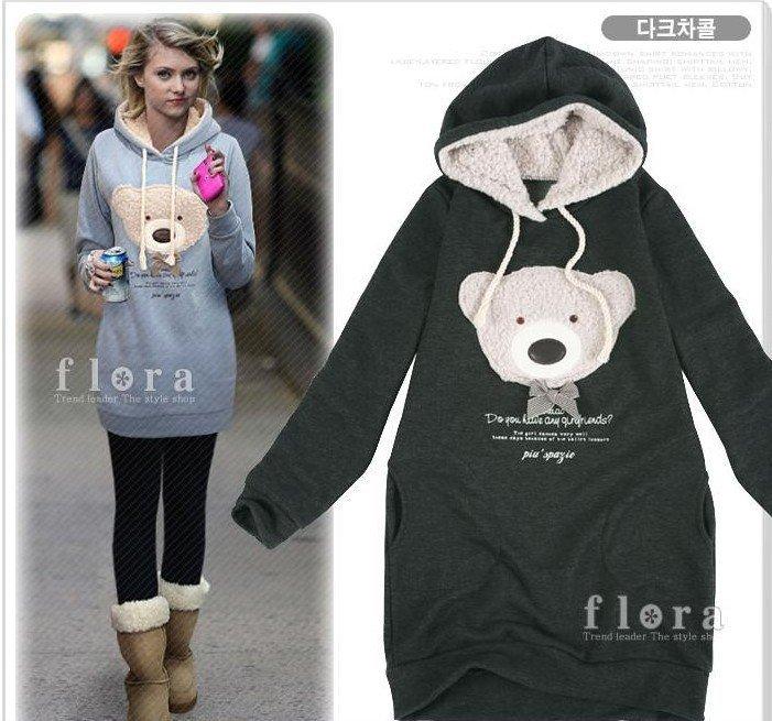 S�cak �cretsiz nakliye 2012 hoodie uzun top kazak, palto, giysi ceket, kad�n ceket, hoodie Sevimli oyuncak ay� Y0750 satmak