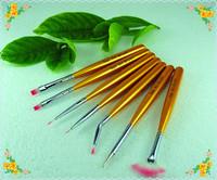 Free Shipping (7pcs/Set)  Professional Nail Art Brush Set Design Golden Handle Drawing Nail Brushes