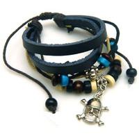 Браслет Punk Skull Pendant Leather Bracelet Multilayer Braid Bracelets Unisex Bangle