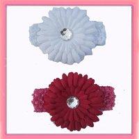 Одежда и Аксессуары whosale 12pcs/lot 1.5' crochet headbands with 41/2' daisy flower with diamond