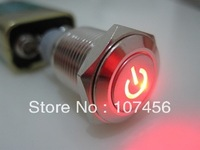 Коммутатор 12V Metal Switch Latching Push Button red Led Car 16mm switch