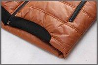 Мужской пуховик 2012 big size clothing splice winter new men's hooded down coat PU leather fabric Korean men's fashion padded DJM003