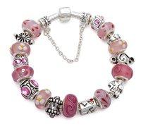 Медицинский бандаж Silver pink charm bracelet C01