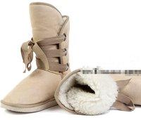 Fashion Winter Woolen Lace Up Snow Women Boots Shoes ladies