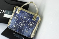 Детали и Аксессуары для сумок Knitted rhinestone bags vertical rivet handbag messenger bag diamond check women's washable jeans handbag for girl