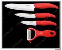 "Набор кухонных ножей 3"" 4"" 6"" inch larcolais Red Black Green Blue Pink Handle Paring Fruit Chef Home Kitchen Ceramic Knife Set + Peeler Christmas"