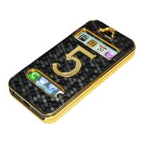 Чехол для для мобильных телефонов Black Luxury Gold Plating Flip PU Leather Case Cover for iphone 5 5G