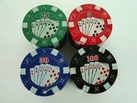 Промышленная машина New New Poker Chip 3 Piece Part Metal Teeth Herb Spice Tobacco Grinder Muller Random