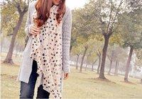 Korean style double color mixed loving peach heart chiffon silk scarf