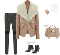 Женская куртка 2013 fall and winter clothes jacket fur collar woolen coat Korean Women Slim thin coat