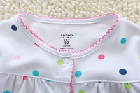 Autumn New, 4pcs/lot, Carter's Baby Girls Butterfly Long Sleeve Colorful Dotted Cotton Romper, freeshipping