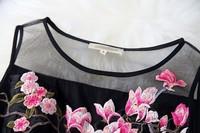 Женское платье 2014 Spring Newest Hand Embroidered Organza Dress Women High Quality Princess Dresses Brand Sleeveless Dresses