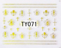 Наклейки для ногтей 20sheets/lot Mixed TY067-078 Gold Sticker Cute Sticker Nail Art Sticker