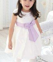 Платье для девочек Princess girl dress/White girl dress with shining small pearl/Short sleeves baby girl dress with purple bowknot belt