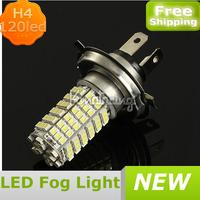 Car 120 LED 3528 SMD H4 White Fog Driving Parking Light Lamp Bulb DC 12V,Wholesale led fog light kit,FREE SHIPPING led fog light