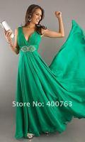 Платье на студенческий бал Inexpensive A-line Beaded Embellished Chiffon Deep V Neck Green Prom Dress