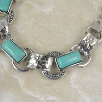 Колье-цепь Fashion jewelry Vintage Look Tibetan Silver Plated Round Turquoise Beads Cocktail Necklace /Pendant N154