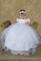 White Baby Girls Christening Gown Dress Baptism Gown