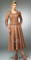 мать кружева из тафты Элегантный длинным рукавом платье