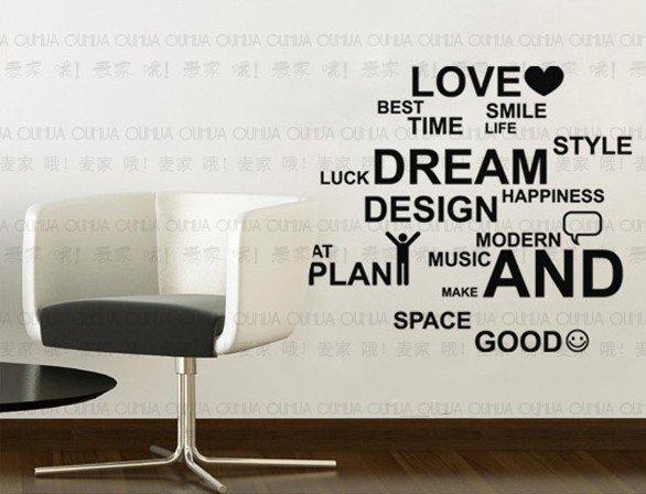 Aliexpress.com : Buy Words DIY wall sticker paper wall decor decal