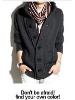 Мужской кардиган 2013 Fashion big lapel single-breasted men's sweater real wool men's sweater men's coat wool cardigan coat W788