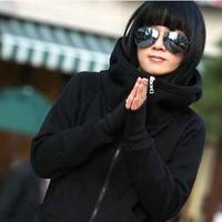 Дамы новых осенью и зимой высокая шея свитер с капюшоном пальто балахон почтовый верхней одежды