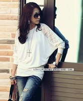 Женская футболка 2013 New Fashion Women's Batwing Top Dolman Lace Loose Long Sleeve T-Shirt Sexy Blouse Black White S-M-L-XL