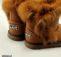 Ботинки для мальчиков winter female children shoes rabbit fur thermal boots Outdoor warm winter boots for children Натуральная кожа