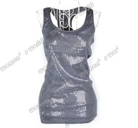 Женский топ Korea Style Women's Sexy Vest Tank Sequin U Collar Modal Long Vest Top 13155