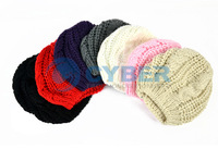 Женский берет Hot Sale! Fashion Winter Warm Women Lady's Beret Braided Baggy Beanie Crochet Hat Ski Cap 7 Colors 8230