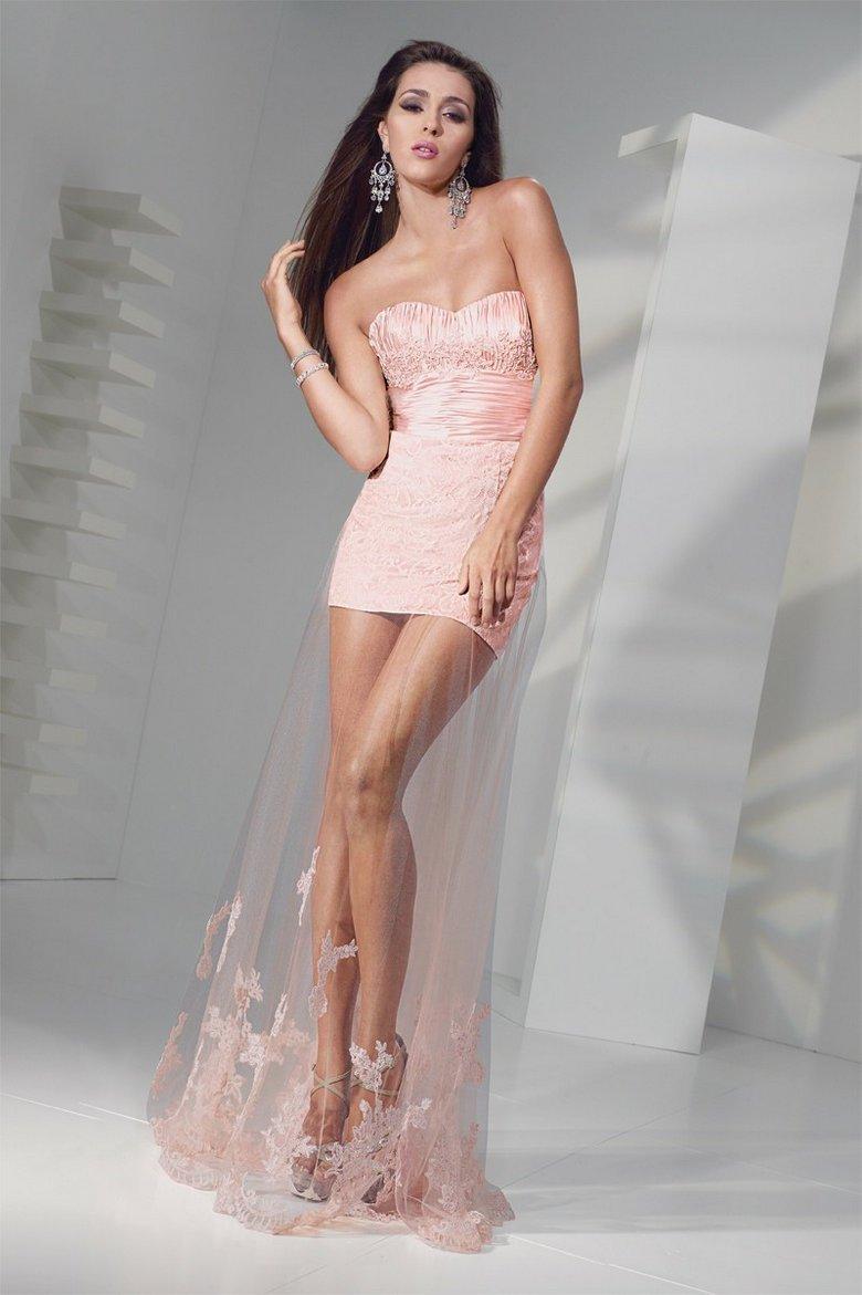 Dream Sweetheart lovely lace net gown mini pink mist sheath short