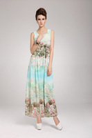 Женское платье Elegant Positioning Printed Waist Slimming Sleeveless Chiffon Long Dress 2013 New