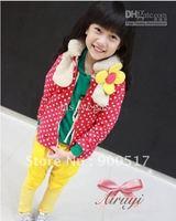 Girls coat children fashion long sleeve tops kids cute fower cardigan two colors garment lcazsz q7