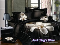 Постельные принадлежности al Black Bedsheet White Flower 3d Bedding Set Unique Oil Painting Bedding Set 4pcs