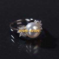 Стерлингового серебра 925 великолепные кольцо с речным жемчугом, красивая палец ювелирные украшения для новобрачных/свадьба/участие 3 шт/много