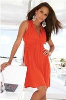 Женское платье SEXY fashion BLACK AND ORANGE Halter-neck beach dress one-piece dress 2XL-4XL 1004