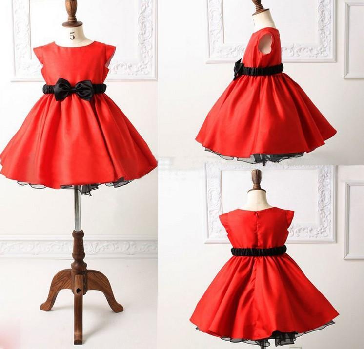 Детское красное платье с чёрным бантом с доставкой за 1269 руб