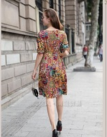Женское платье 2013 autumn new large size women fat mm Autumn floral dress was thin long-sleeved dress big yards Kit
