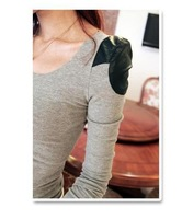 2012 fashion casual fashion o-neck colorant match patchwork long-sleeve T-shirt basic shirt