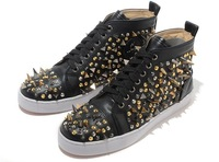 Мужские кроссовки Solid black leather spike men shoes hot sale lace up spikes flat shoes for men