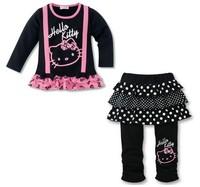 Комплект одежды для девочек New! 5sets/lot Fashion Hello kitty Children's Suit/ baby girl 2pcs set, long sleeve t-shirt+pantskirt