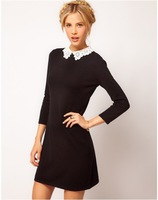 Hot Design Women's Sexy Vintage O-Neck ASOS Knit Dress With Lace Collar  Size M,L