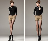 Женские шорты New 2013 autumn winter mid-waist slim woolen shorts boots pants, fashion women wear size S-XL