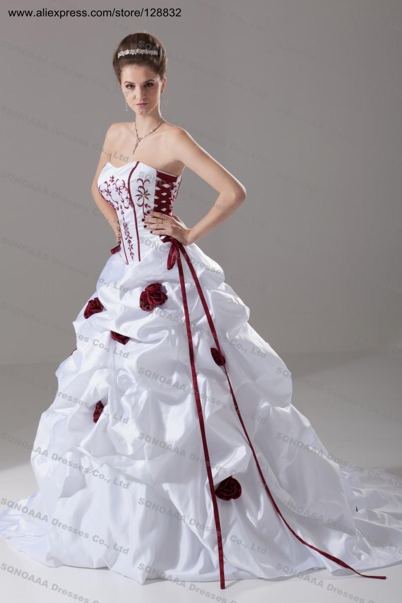 Robes bon marché et de belles: Robe de mariee blanche bordeaux