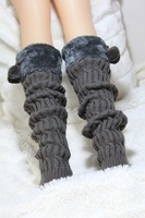 Женские гетры New 2013 autumn winter velvet upper string ball decorated wool twisted knitted women's fashion leg warmer, gaiters