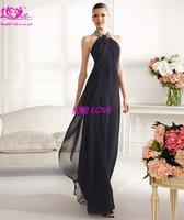 Вечернее платье 2012 black chiffon fashion long halter formal evening dress party& evening gowns XXX-11030