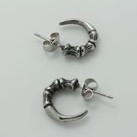 Серьги Mens Boys Silver Fashion Pair Finger Bones Claw Hoop Earrings Ear Studs and Spike Chain 316L Stainless Steel