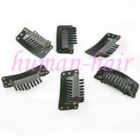 50pieces 9-зубы клипы для расширения/парик/утка 32 мм длинный черный цвет волос