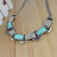 Fashion Jewelry Vintage Tibetan Silver Elegant Oblong Turquoise Beads Necklace Bracelet Earring Jewelry Set Free shipping S18