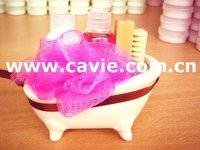 SWEET MINI BATH TUB SET (SHOWER GEL, BODY LOTION, BODY PUFF, WOODEN BRUSH, MIN CERAMIC BATH TUB) - LOVELY 2010